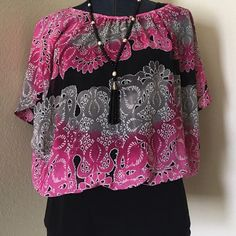 Style & Co Blouson Top Gently worn 2-3 times max. Kept in a smoke/pet free home. Scoop neckline, pullover style with batwing sleeves. Hits at the hip. Body & lining 100% polyester. Style & Co Tops Blouses