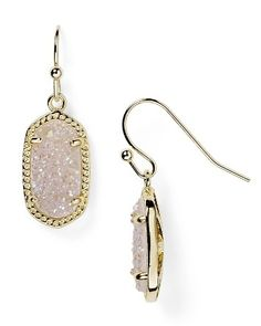 Kendra Scott Lee Gold Oval Drop Earrings in Iridescent Drusy #commandress