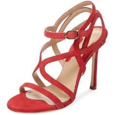 Chelsea Paris Esosa Suede Strappy Sandal (1.455 VEF) ❤ liked on Polyvore featuring shoes, sandals, red, red sandals, red ankle strap sandals, ankle strap shoes, red high heel shoes and suede sandals