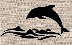 Dolphin and Water Stencil by CutItOutStencil on Etsy