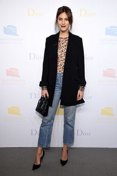 Alexa Chung attends the 2016 Guggenheim International PreParty made possible by Dior at Solomon R Guggenheim Museum on November 16 2016 in New York...