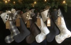 Christmas Stockings Large Contemporary Padded hand Made Grey Set of 6