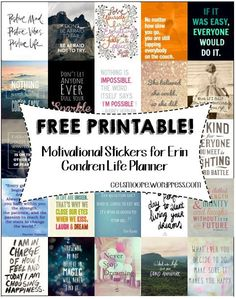 FREE PRINTABLE Inspirational Stickers for Erin Condren Life Planner