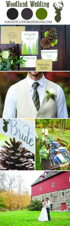 Rustic Wedding Invitations, Woodland Wedding Invitations, Country Wedding…