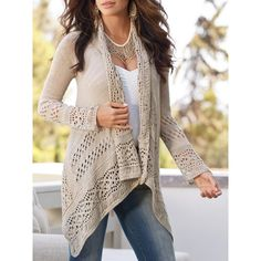 Simple Style Collarless Hollow Out Solid Color Irregular Cardigan For Women (AS THE PICTURE,M) in Sweaters & Cardigans | DressLily.com