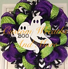 Boo halloween wreath with ghost  on Etsy, $95.00