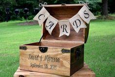Carte boîte boîte à cartes en bois rustique mariage