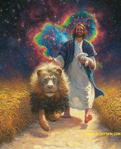Jesus walking with symbolic lamb, Lion of Judah and heart of love prophetic art. Image Jesus, Jesus Christ Images, Religion, Jesus Painting, Jesus Christus, Prophetic Art, Biblical Art, Jesus Pictures, Jesus Is Lord