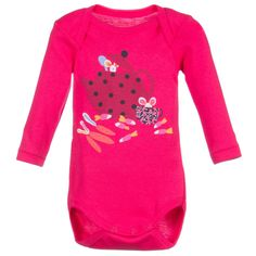 Baby girls bright pink long sleeved baby suit by<span>Catimini