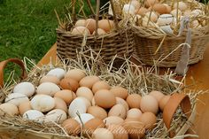 Baskets of eggs for sale at the Market, Colonial  Williamsburg.