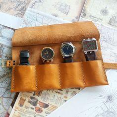 Soft Leather Watch Roll Case Storage  leather Handmade Italian travel Watch bag #Goriani