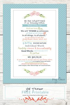 YW Theme Free Printable - Download size is 8x10 AND 16x20 #lds #yw