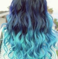 Turquoise & Navy Blue Curls