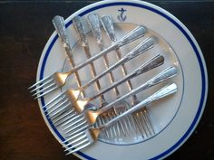 USN silver plate forks   set of nine  Viande style by NoNeedForNew,