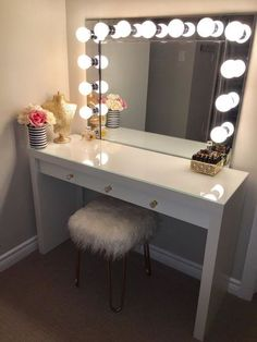 VANITY MIRROR WITH DESK U0026 LIGHTS