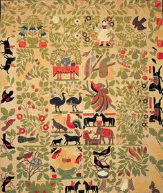 Bird of Paradise Quilt Top-1858-1863, May have been made for an upcoming marriage (based upon the blocks that feature paired animals, nesting birds, flowering urns, and other symbols of couples and fertility.