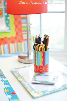 Jazz-up your desk items with CTP's  Dots on Turquoise designer decor!