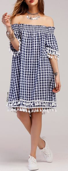 Gingham Off Shoulder Tiered Tassel Trim Dress