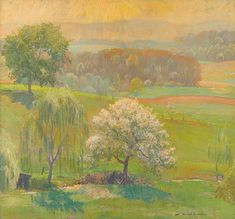 """DANIEL GARBER (American 1880-1958) """"WILD CHERRY"""" Signed 'Daniel Garber' lower right, oil on canvas 28 x 30 in. (71.1 x 76.2cm) April 1928. [Humphries P541] In a Newcomb-Macklin frame. #FreemansAuction"""