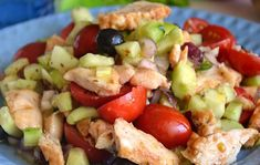 WW Greek chicken salad, recipe of a quick and tasty cold salad, easy and make for a healthy and light summer meal. Salade grecque au poulet WW – Recette WW – Plat et Recette Vegetarian Dishes Healthy, Vegetarian Chili Crock Pot, Vegetarian Recipes Videos, Clean Eating Vegetarian, Vegetarian Meals For Kids, High Protein Vegetarian Recipes, Greek Recipes, Soup Recipes, Healthy Recipes