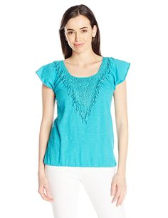 Allison Brittney Women's Wide Neck Flutter Sleeve Raglan Top with Crochet * See this great product.
