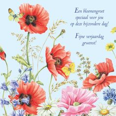 Verjaardagskaart met fleurige bloemen- Greetz