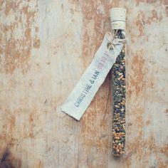 5 Green Tea Test Tube Favors with Custom Linen Labels