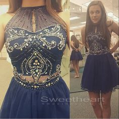 Blue sequin short prom dress for teens, modest prom dress, homecoming, unique short prom dress 2016 #prom #promdress
