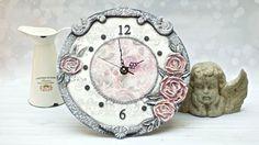Decoupage - zegar z różami - tutorial  DIY