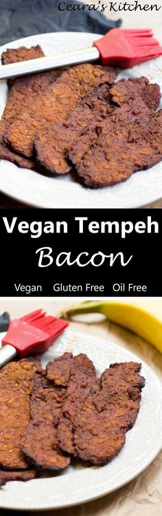 Vegan Tempeh Bacon: Crispy, Chewy and marinated in a homemade sweet + smokey BBQ sauce. Tastes amazing on BLTs and alongside tofu scramble. Baked not fried. #vegan #healthy #bacon #food #veganrecipe #recipe