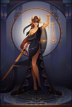 Greek Goddess Art, Greek Gods And Goddesses, World Mythology, Greek And Roman Mythology, Character Art, Character Design, Lady Justice, Egyptian Art, Pretty Art