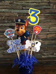 Customized CHASE Paw Patrol centerpiece by myhusbandwearscamo, $20.00