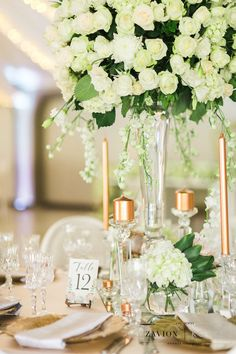 White roses, orchids mass arrangements, rose gold candles Rose Gold Candle, Gold Candles, Green Wedding, Wedding Flowers, Event Company, Pink Stripes, White Roses, Wedding Planner, Floral Design
