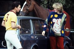 Mirror Online:  Quirky fashion: Princess Diana dons a koala jumper to watch Prince Charles play polo in June 1982