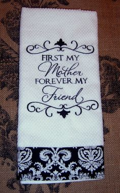 Kitchen Towel, Mother's Day Gift, Machine Embroidery. , Linen, Black and White, Decortive Kitchen Towel on Etsy, $10.00