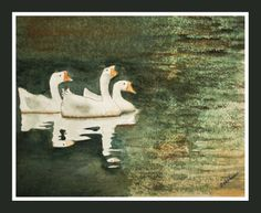 """10"""" X 8"""" Watercolor  Geese on the Blackwater"""