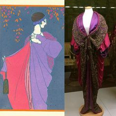 circa 1912 Paul Poiret evening coat owned by AnnaPiaggi in the Galleria del Costume di Palazzo Pitt, Florence. Image at left by GeorgesLepape for Gazette du bon ton, July 1913. (Art Deco Fashion)