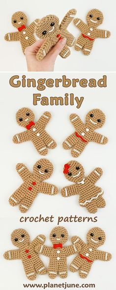 Super sweet Gingerbread Family crochet patterns - Gingerbread Man and Gingerbread Girl with custom embellishments, perfect as Christmas decorations or cute toys at any time.