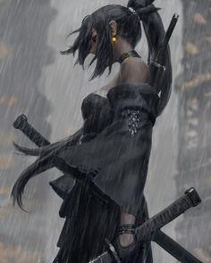 "GUWEIZ บนทวิตเตอร์: ""⚫️… "" Fantasy Art Women, Dark Fantasy Art, Fantasy Girl, Fantasy Artwork, Female Samurai Art, Female Art, Female Centaur, Female Knight, Cool Anime Girl"