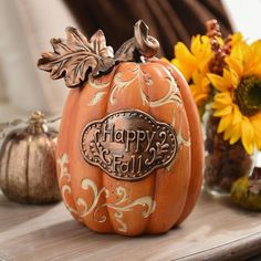 Happy Fall Bronze Accent Pumpkin ($13) ❤ liked on Polyvore featuring home, home decor, holiday decorations, fall home decor, autumn home decor, bronze home decor and pumpkin home decor