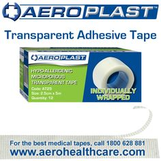 Individually wrapped to eliminate residue and grime, get the best hypo-allergenic latex-free microporous transparent adhesive tape on the market! #firstaid Call 1800 628 881 or visit http://www.aerohealthcare.com