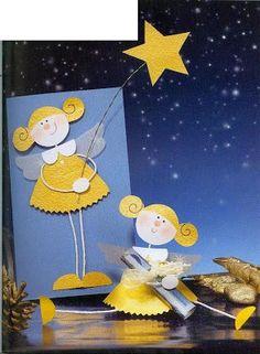 """""""Ταξίδι στη Χώρα...των Παιδιών!"""": 7 Προτάσεις για Χριστουγεννιάτικες Κάρτες! Paper Christmas Decorations, Christmas Cards To Make, Christmas Angels, Kids Christmas, Holiday Greeting Cards, Christmas Greetings, Angel Crafts, Christmas Crafts, Halloween Cards"""