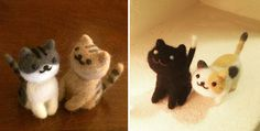 Needle felted neko atsume cats