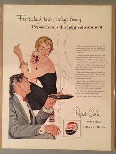 PEPSI-COLA - 1954 Pepsi Advertisement, Advertising Signs, Vintage Advertisements, Vintage Ads, Vintage Prints, Pepsi Cola, Coke, 50th Party, Old Ads