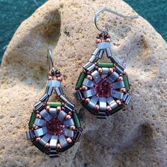 """Half Tila Technoluster #earrings designed by Cindy Holsclaw of Bead Origami and beaded by me. #silver #green #peach #copper #swarovski #handmade #seedbeads #tilabeads #halftilabeads"