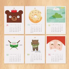 2016 illustrated desk or wall calendar, designed by Milk & Cookies. Each month features a unique illustration, making it a perfect gift for a