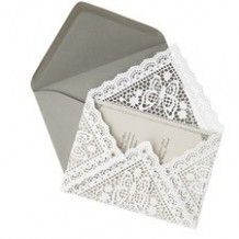 Doily Envelopes. Too precious if I decided to do very girly birth announcements. Could use for baptism or Christening.