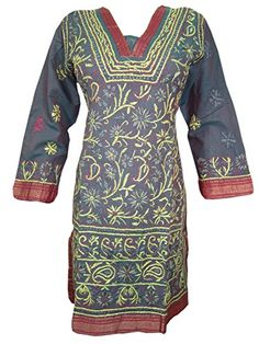Boho Indian Kurta Grey Tunic Floral Embroidered Cotton Kurti Dress X-small Mogul Interior http://www.amazon.com/dp/B00WM7Q26K/ref=cm_sw_r_pi_dp_1rZovb1JBB2Y8