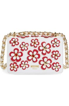 online store 18ee2 89456 MOSCHINO Flowery Flap Leather Shoulder Bag