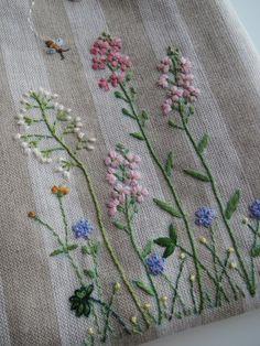 刺繍のミニバッグ(野の花)ピンク 2x
